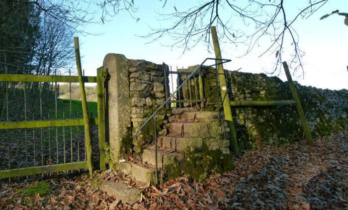 Levens Park - stairway to a field.