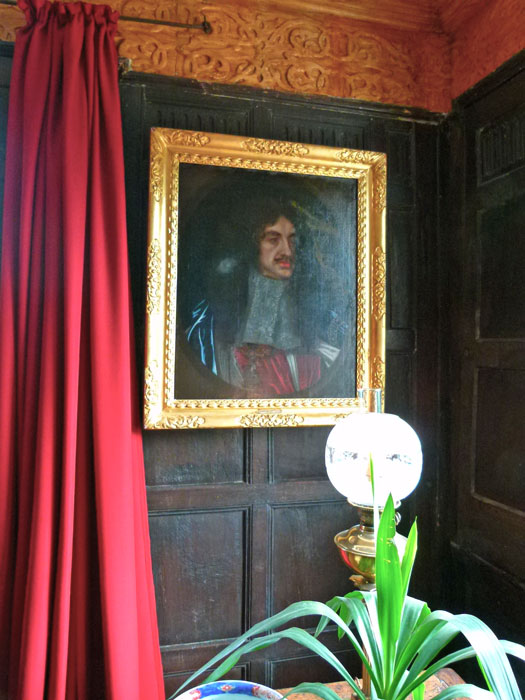 Portrait of Charles II in Boscobel House. Do you think he's wearing lipstick?