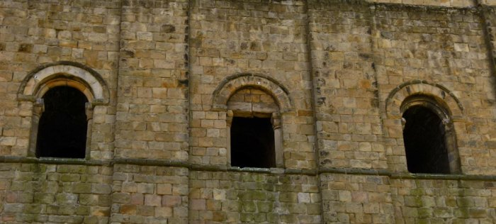 Richmond Castle keep - ornamented windows.