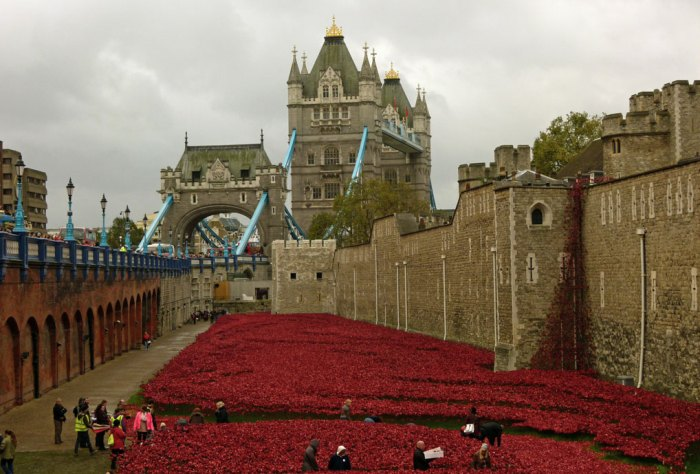 Blood Swept Lands and Seas of Red. Part of the art installation in the moat of the Tower in 2014, to commemorate the centenery of the start of the First World War.