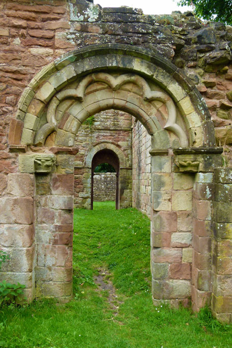 White Ladies Priory, Shropshire. Doorway into the church from the cloister.