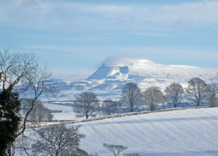 Ingleborough, snow