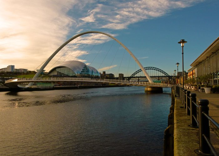 New and old. Gateshead's Millennium Bridge, the Sage, the Tyne Bridge.