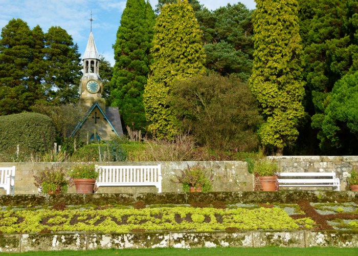 Cragside, formal gardens, clocktower