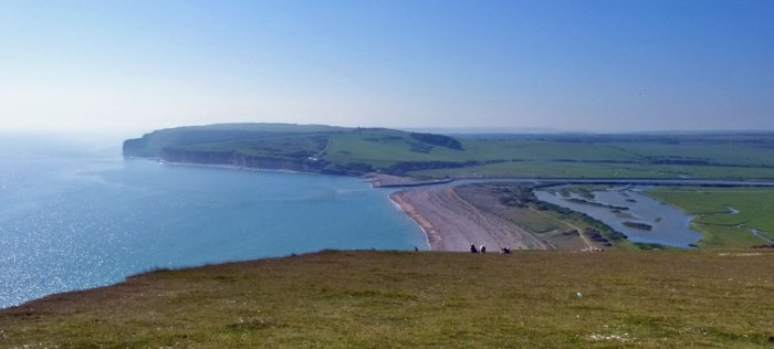 Looking west from Seven Sisters - the beach and Seaford Head