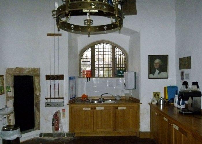 St Oswald's, Warton, kitchen, Washington, coat of arms