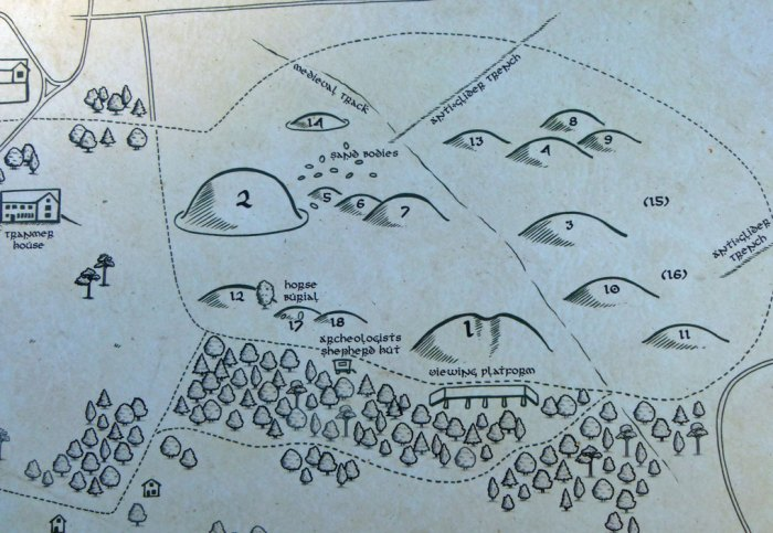 Map of the mounds at Sutton Hoo