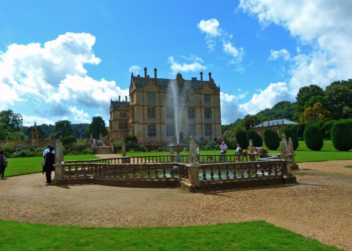 Montacute House, north side, fountain