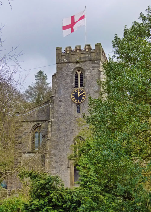 Flag of St George, church steeple, Clapham, Yorkshire