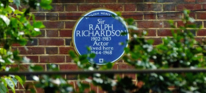 Blue plaque, Hampstead, Ralph Richardson