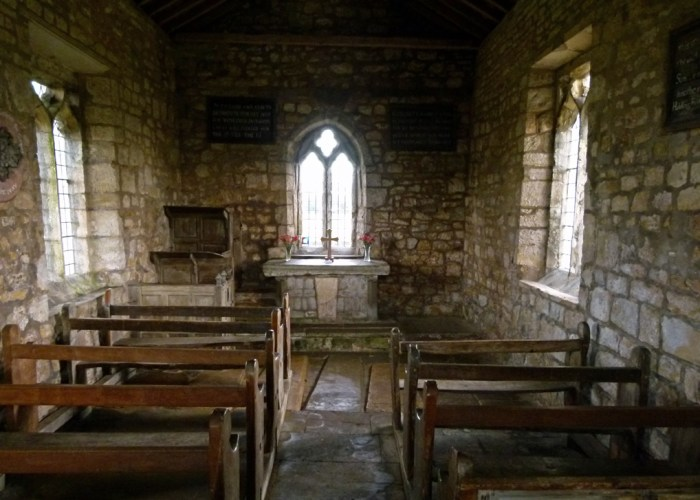 Lead Chapel, medieval pews, 3-tiered pulpit, rustic altar
