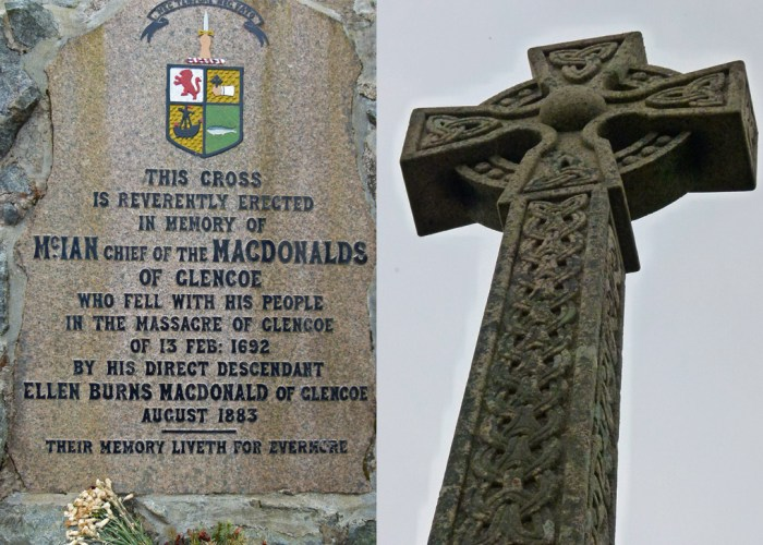 Glen Coe Massacre, Memorial , massacre at Glen Coe, inscrption, cross