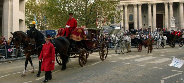 Horses, carriages, Lord Mayor's Procession, St Pauls