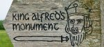 Sign to Alfred's monument at Athelney, Somerset