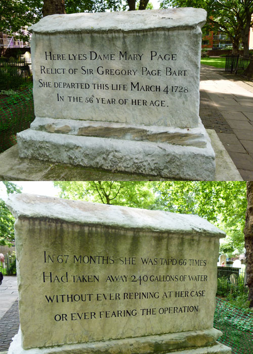 Dame Mary Page, Bunhill, tomb, dropsy
