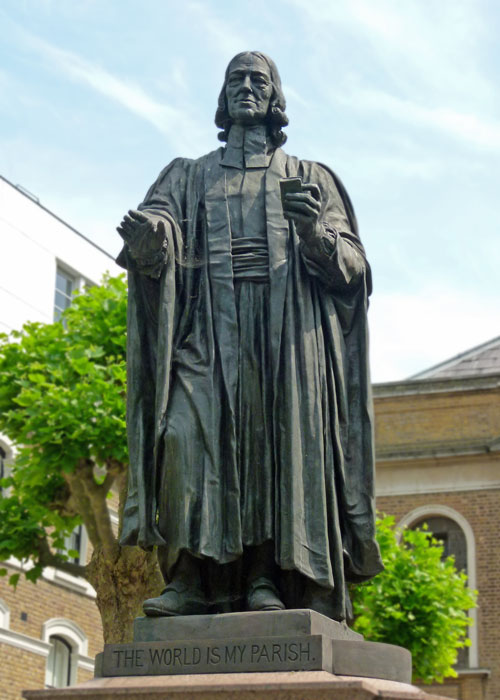 City Road, London, John Wesley, statue