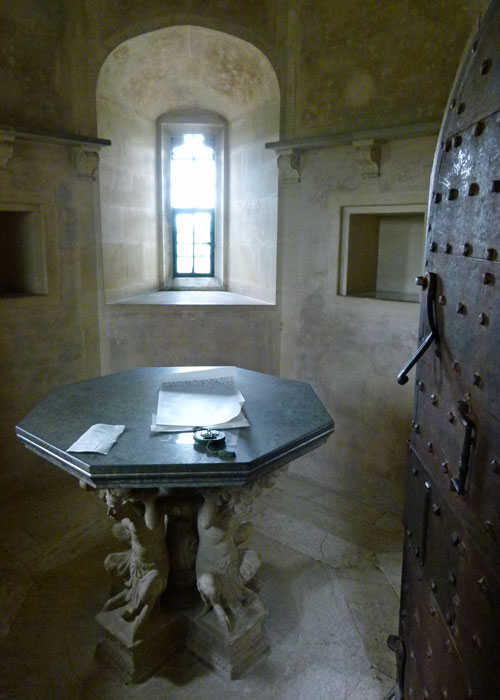 Stone and marble table, tower room, Lacock