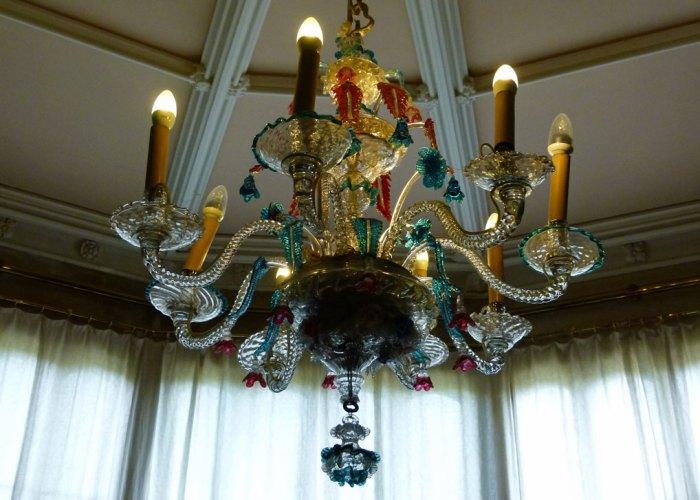 Victorian glass Venetian chandelier, Lacock Abbey