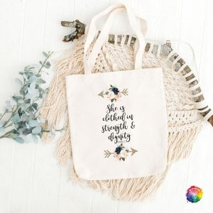 She is Clothed Bible Study Totebag