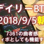 【デイリービットコイン】9/5朝の短観 曲者の7361、フィボとしても機能する(´・ω・`)【2018】