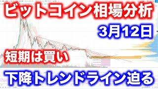 【3月12日】ビットコイン相場分析。長期的な相場は上昇か?週足の下降トレンドラインを意識しよう。