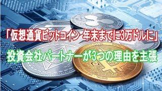 「仮想通貨ビットコイン 年末までに3万ドルに」投資会社パートナーが3つの理由を主張 イーサリアムとXRP(リップル)にも強気
