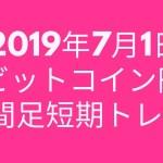 2019年7月1日ビットコイン円1時間足短期トレード