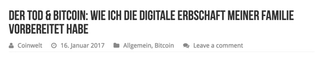 Der Tod & Bitcoin