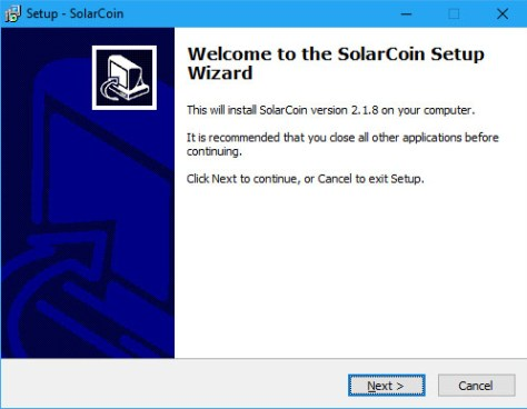 SolarCoin Windows Installer Initial Screenshot (Image: Flippener)