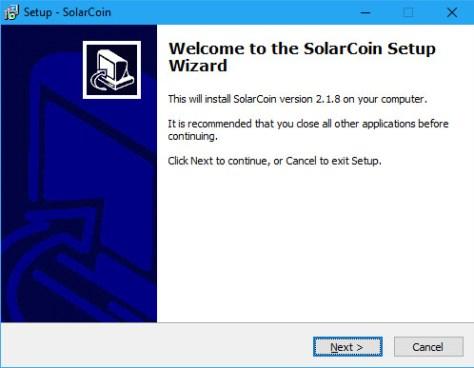 SolarCoin Windows Installer Initial Screenshot (Image: Flippener)