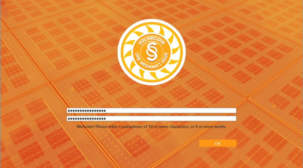 SolarCoin Wallet - Enter Password (Image: Flippener)