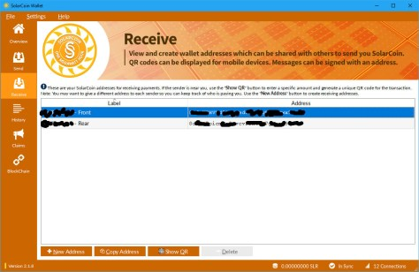 SolarCoin Wallet Receive screen (Image: Bitcoin Investors UK)