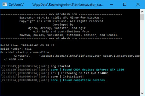 NiceHash Miner command window (Image: BIUK)