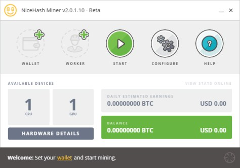 NiceHash Miner ready screen (Image: BIUK)