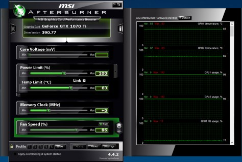 MSI Afterburner showing high graphics card temperatures during mining (Image: BIUK)