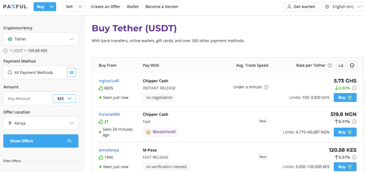 Buy Tether on Paxful