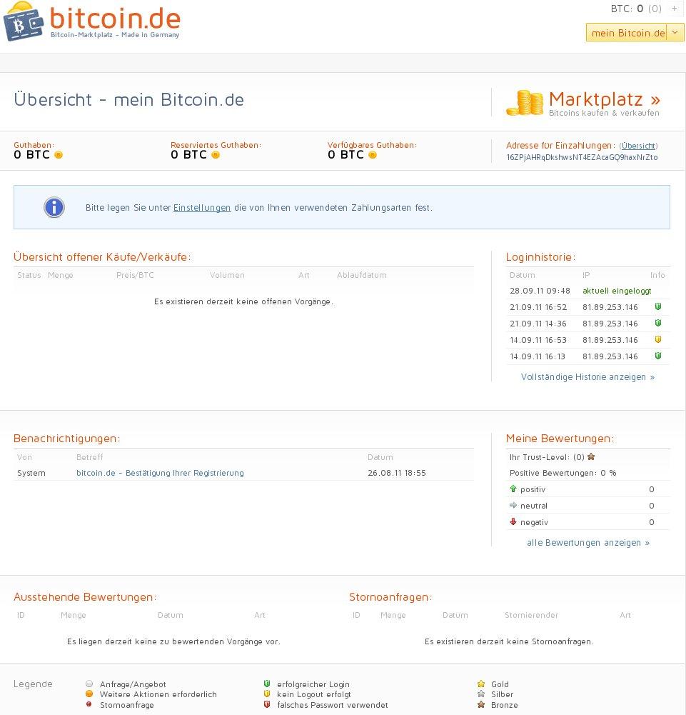 mein bitcoin.de Übersicht