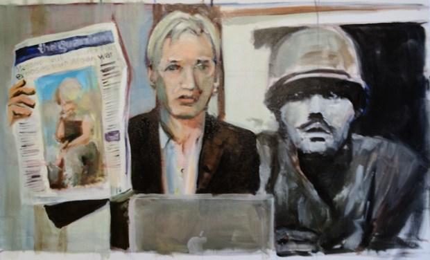 Julian Assange, der Gründer von Wikileaks, versteckt sich weiterhin in der Botschaft Ecuadors in London vor der europäischen Polizei. Bild: Assange (work in progress) von a.powers-fudyma via flickr.com. Lizenz: Creative Commons