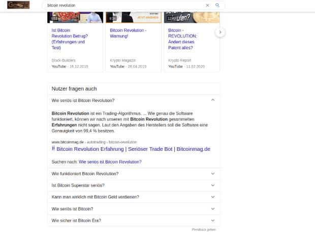 Bitcoin Revolution ist einer der Namen hinter der Höhle der Löwen Masche. Google gibt irreführenden Artikeln eine viel zu hohe Autorität.