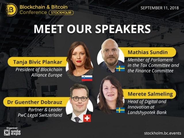 Mød højttalerne på Blockchain & Bitcoin Conference Stockholm
