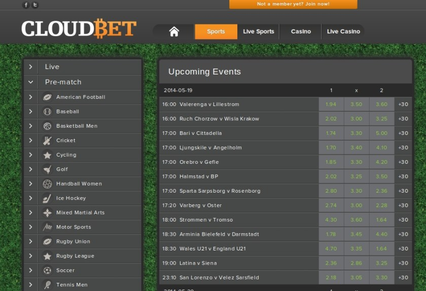 CloudBet Sports Betting screen-shot taken on the 18th of May 2014