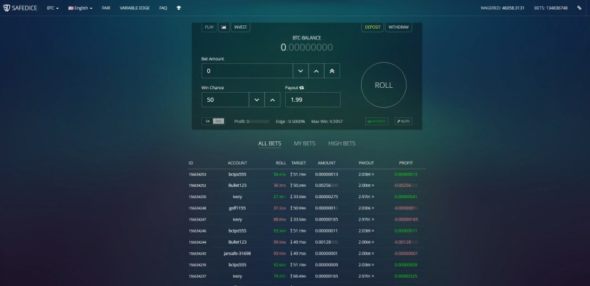 SafeDice game play interface