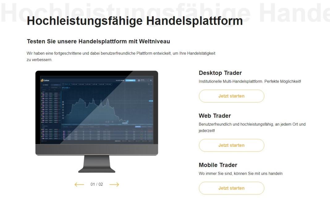 celox live Hochleistungsfähige Handelsplattform