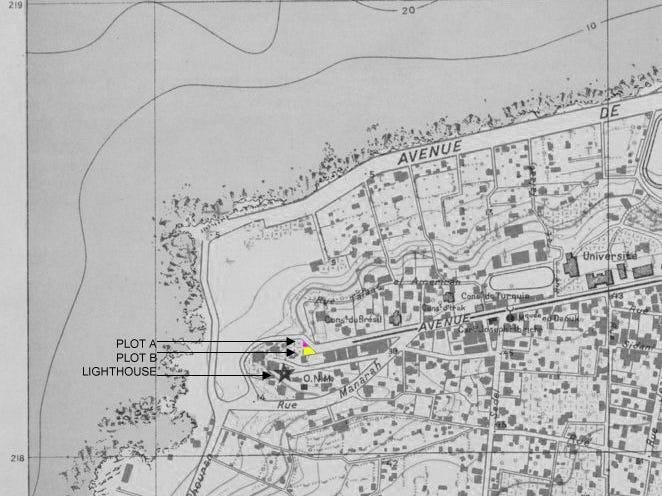Location map showing plot A (where the