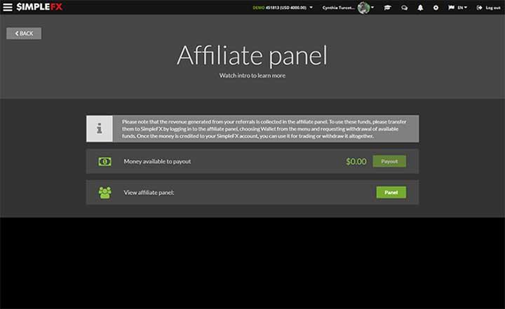 SimpleFX affiliate platform