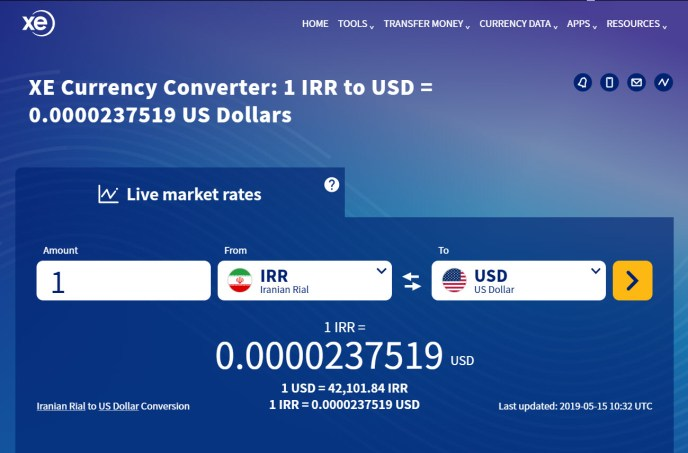 Iranian Rial to USD
