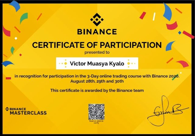 A sample certificate from a BitKE community member who participated in one of the masterclasses.