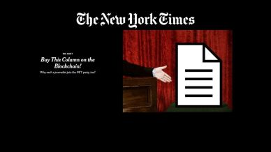 The New York Times Sells a Column Post Titled 'Buy This Column on the Blockchain!' as an NFT for Over $500, 000 - Bitcoin KE