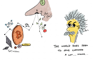 Einstein meets cryptocurrency in 2019 cartoon