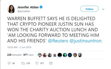Justin Sun wins charity auction to have lunch with Warrenn Buffett